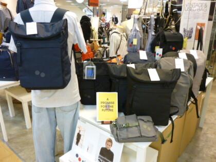 100%リサイクルPET生地を使ったバッグ「ピンポン」